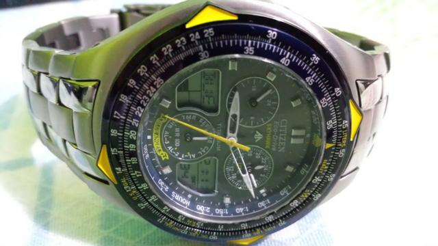 8f944b63c68 Relógio Citizen Eco Drive Skyhawk Blue Angels Jr3080 Em Aço ...
