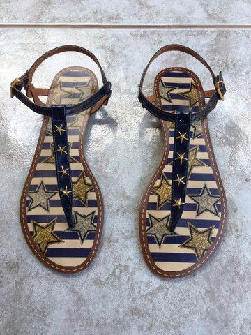Sandália rasteirinha azul Mariotta