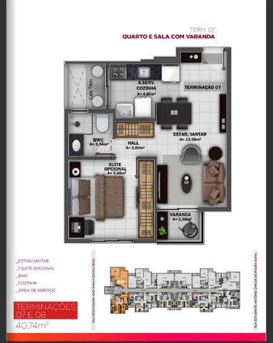 Apto. Quarto/Sala c/ Varanda e 42m², Área de Lazer Completa  - Foto 6