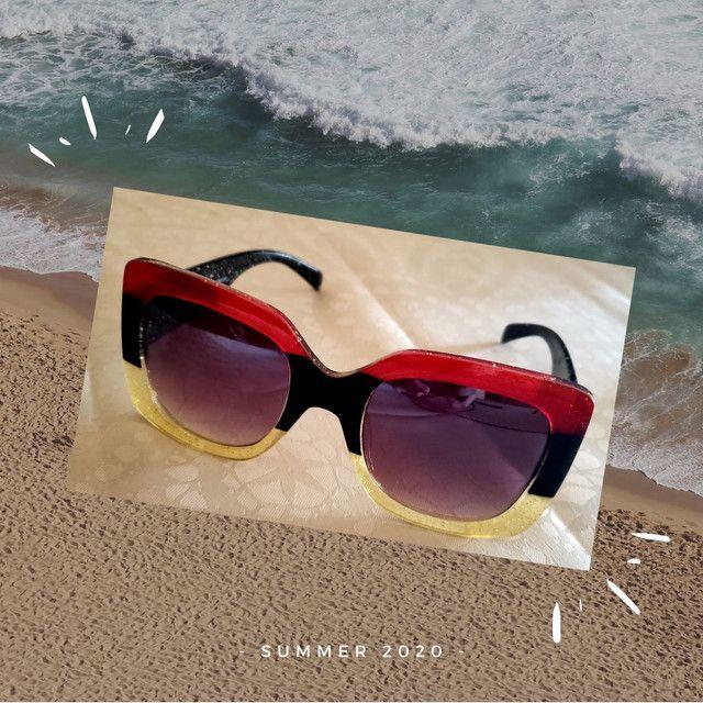 Óculos de sol feminino Nagata, multicolor glitter, Fashion Summer. - Foto 6