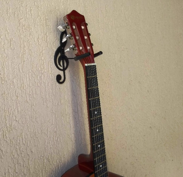 Suporte De Parede Formato Clave de Sol Para Guitarra Violão Baixo Cavaquinho Banjo Ukulele - Foto 5