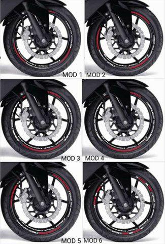 Kit de adesivos e frisos de roda para motos - Foto 6