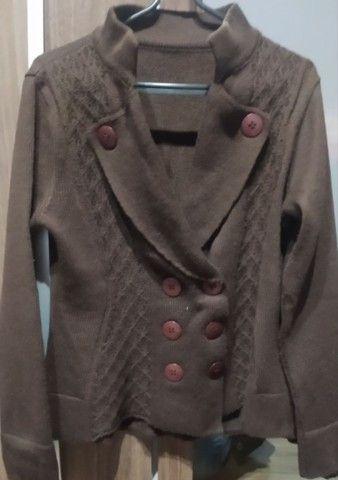 Casaco de lã marrom estilo terninho - Foto 3