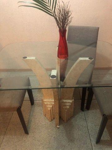 Mesa Mármore de Vidro 4 Cadeiras  - Foto 4