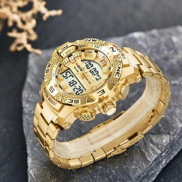 Relógio de quartzo de aço inoxidável ouro da moda de luxo da marca Mizums a prova D'água