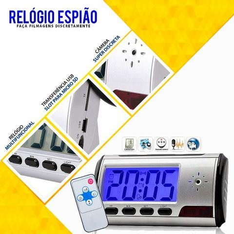 bef730658f9 Relogio Espiao De Mesa C  Camera Espia Hd Video Foto - Áudio