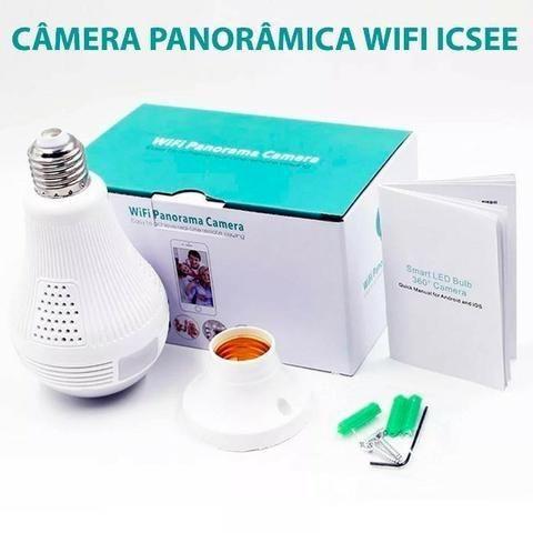 Lâmpada Câmera 360º Espia Ip Wifi Wif Icsee Casa Escritório Empresa CFTV