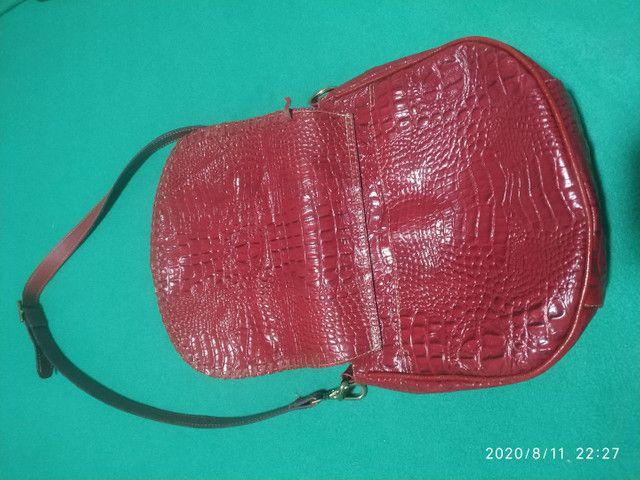Bolsa em couro croco - Foto 4