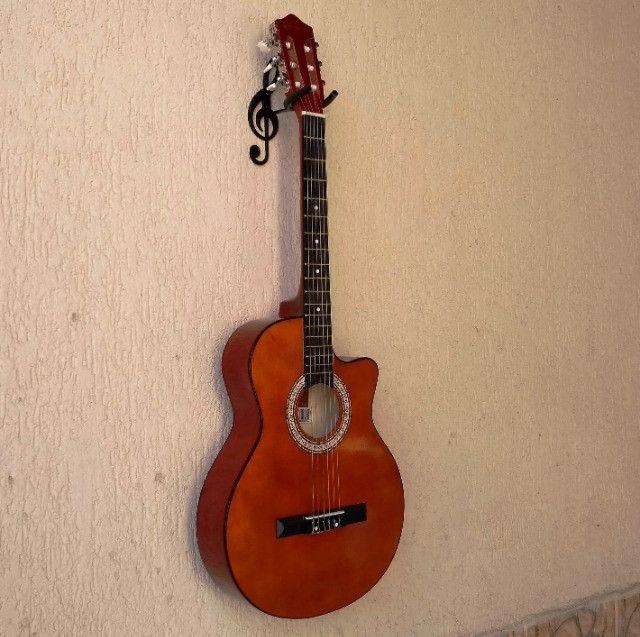 Suporte De Parede Formato Clave de Sol Para Guitarra Violão Baixo Cavaquinho Banjo Ukulele - Foto 2