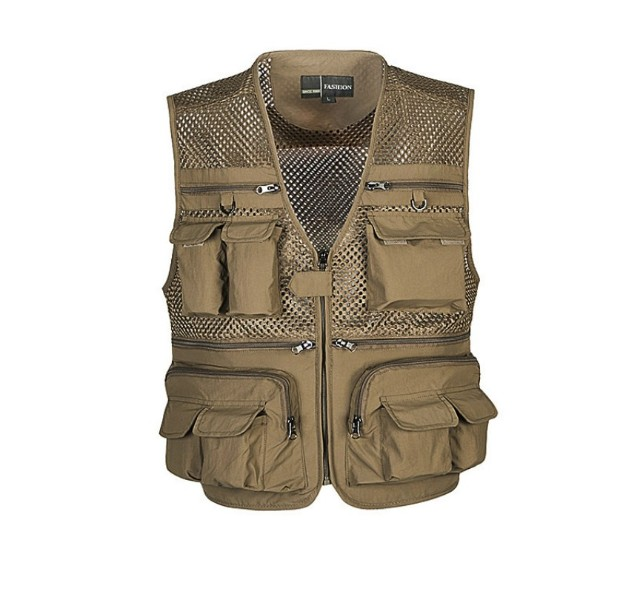 Jaqueta tecido mesh com bolsos bege XL (p/ acampamento, fotografia, pescaria, etc)