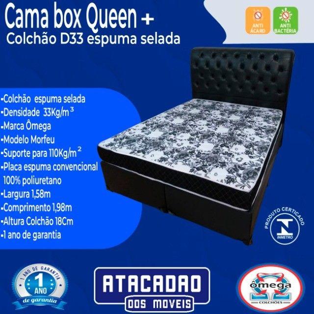 Cama Box Queen + Colchão D33 Espuma Selada  - Foto 2
