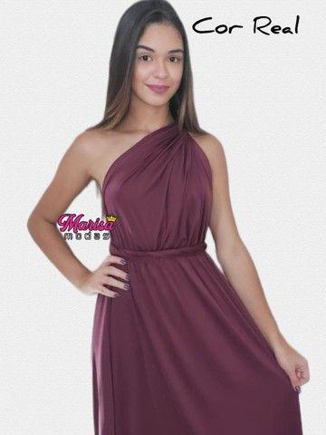Vestido de Festa Vinho Vestido longo Vinho vestido Madrinhas vinho Multiformas - Foto 3