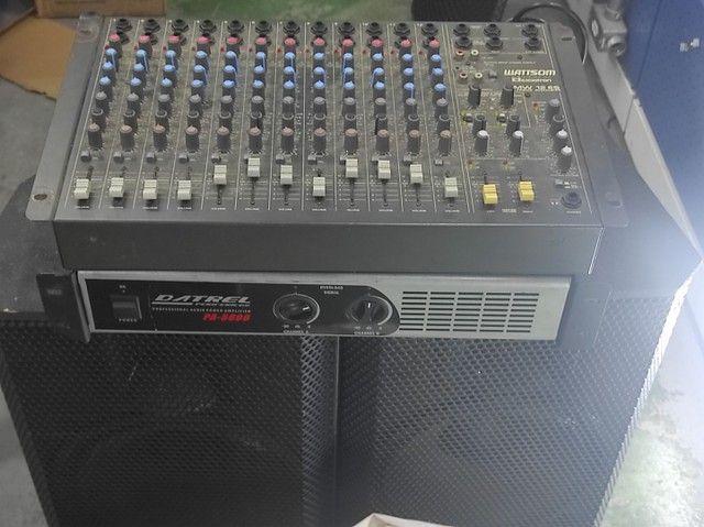 Kit com mesa 12 canais , 2 caixas , uma potência, cabos e um microfone  - Foto 2
