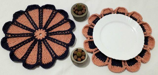 Sousplat de Crochê Kit Casal Flores - Foto 2