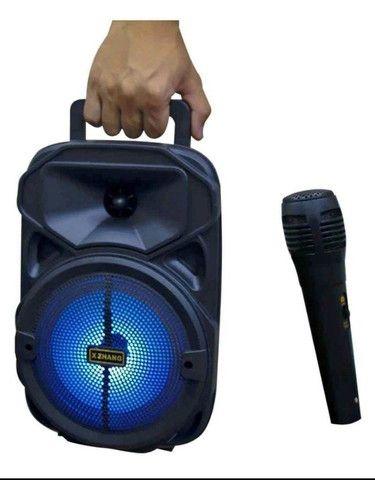 Promoção Caixa de Som Potente, com Microfone, Bluetooth, Nova, Entregamos