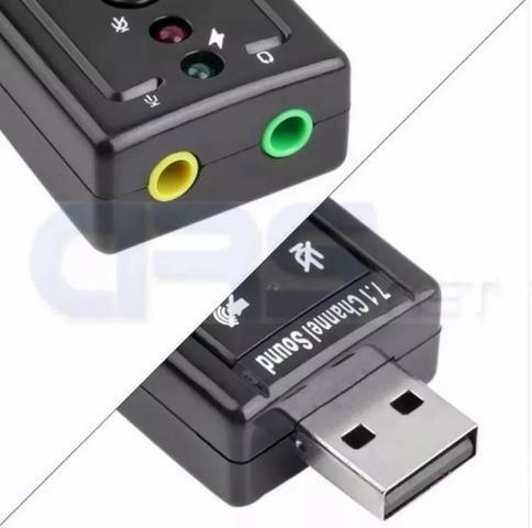 Adaptador Placa De Som Usb 7.1 2 Entrada P2 Fone E Microfone - Foto 2