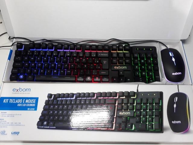 KIT Gamer Teclado e Mouse USB e LED Colorido Exbom BK-G550 - Foto 3