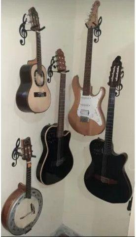 Suporte De Parede Formato Clave de Sol Para Guitarra Violão Baixo Cavaquinho Banjo Ukulele - Foto 4