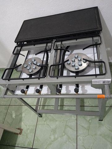 Fogão industrial 4 bocas alta pressão novo com chapa chama no zap * cleber - Foto 6