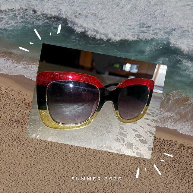 Óculos de sol feminino Nagata, multicolor glitter, Fashion Summer. - Foto 4