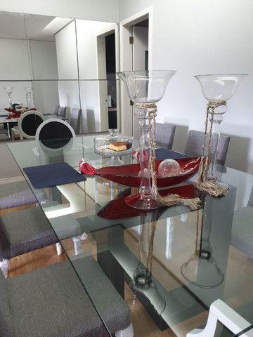 Vendo mesa de vidro com pé em laca - Foto 6