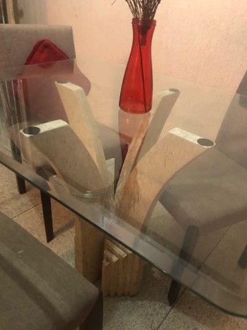 Mesa Mármore de Vidro 4 Cadeiras  - Foto 2