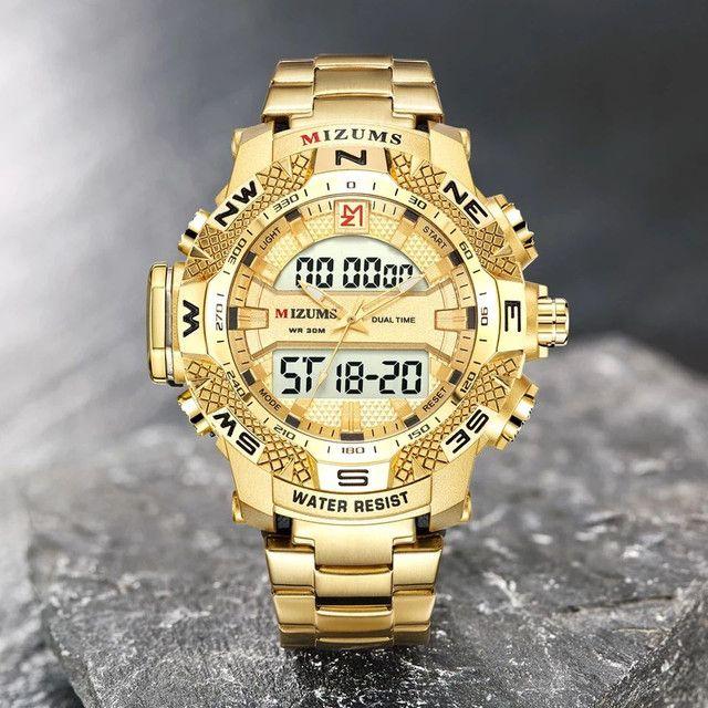 Relógio de quartzo de aço inoxidável ouro da moda de luxo da marca Mizums a prova D'água - Foto 3