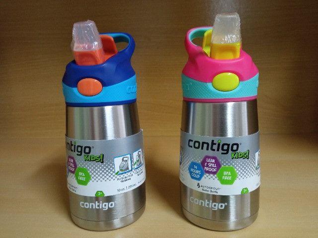 Garrafa Térmica Squeeze Infantil Contigo Autospout 295ml / 380 ml Inox Rosa/Azul - Foto 2