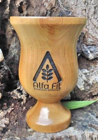 Cuia em Madeira Lisa com pé Personalizada - Foto 3