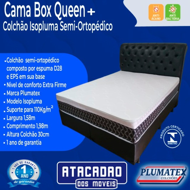 Cama Box Queen + Colchão Isopluma Semiortopédico Extra Firme - Foto 2