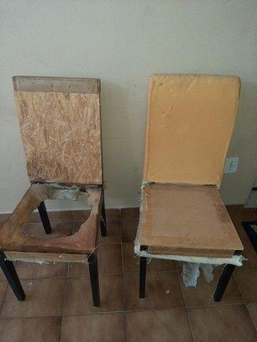 6 cadeiras de madeira sem tecido $ 50,00