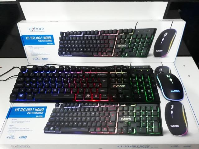 KIT Gamer Teclado e Mouse USB e LED Colorido Exbom BK-G550
