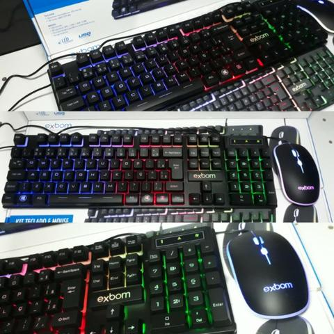 KIT Gamer Teclado e Mouse USB e LED Colorido Exbom BK-G550 - Foto 2