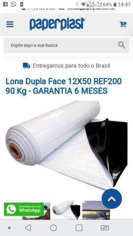 Lona silagem branca e preta gram 200. 12x50