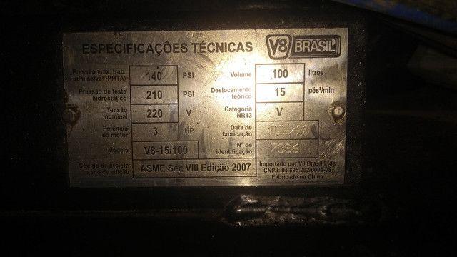 Compressor de ar 15 PÉS 100 LITROS V8 - Foto 3