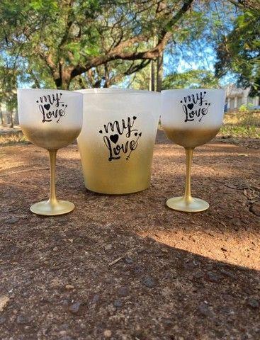 Copos personalizados: 02 taças de gin 600ml degradê+balde degradê personalizados