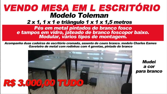 Mesa de escritório modelo Toleman