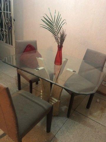 Mesa Mármore de Vidro 4 Cadeiras