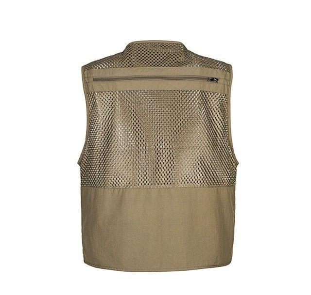 Jaqueta tecido mesh com bolsos bege XL (p/ acampamento, fotografia, pescaria, etc) - Foto 2