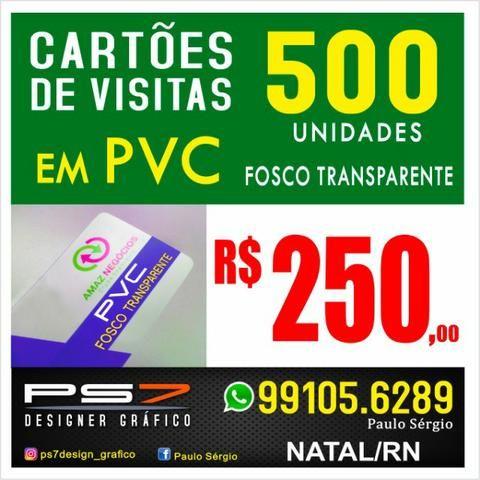 500 Cartões de visitas em PVC transparente Fosco e cantos arredondados