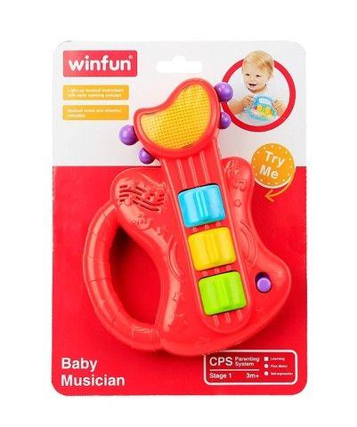 Mini Guitarra Brinquedo Musico Bebe Com Som E Luzes - Winfun