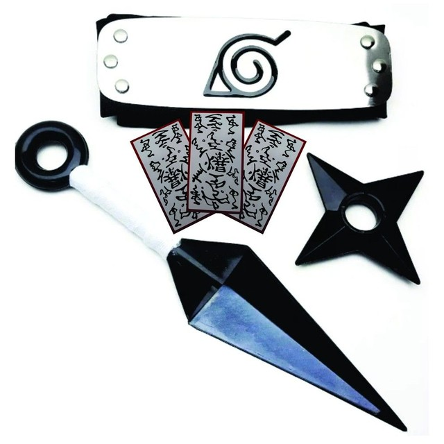 Super Kit Ninja Naruto Bandana Shuriken 10cm + Kunai 22cm + 1 Papel Bomba