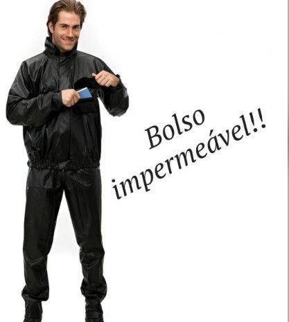 Capa De Chuva Pantaneiro Pvc Com Bolso Impermeável - Foto 3