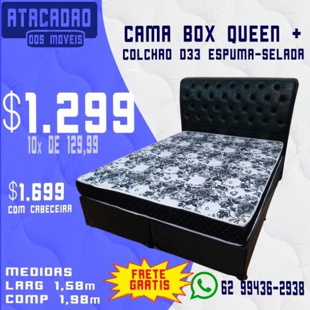 Cama Box Queen + Colchão D33 Espuma Selada