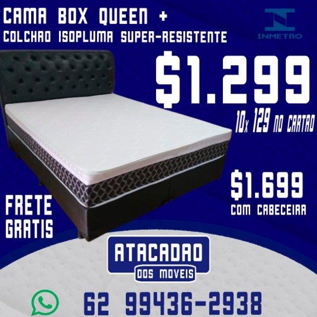 Cama Box Queen + Colchão Isopluma Semiortopédico Extra Firme