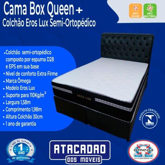 Cama Box Queen + Colchão Eros Lux Extra Firme - Foto 2