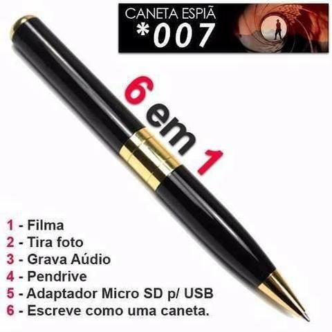 Caneta Espiã Filmadora Hd 1280 X 960 Grav Voz Pen Drive Usb