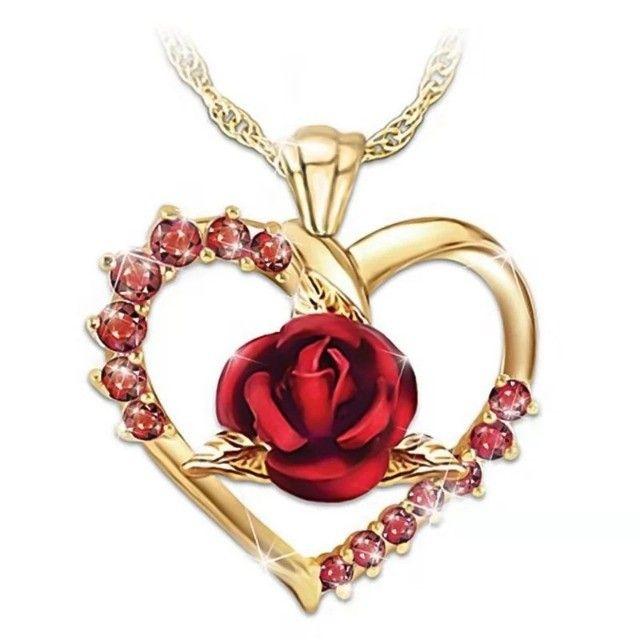 Colar/gargantilha coração rosa vermelha - Foto 4