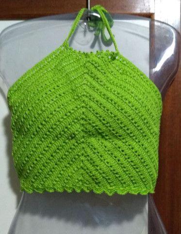 Cropped de Crochê Frente Única com Bojo