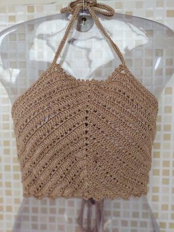 Cropped de Crochê Frente Única com Bojo   - Foto 2